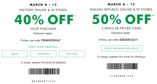 Coupon for: Friends & Family Event starts now at Banana Republic Factory Stores