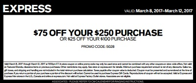 Coupon for: Up to $75 off your purchase at U.S. Express stores