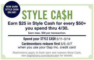 Coupon for: U.S. Gap Factory: Earn your Style Cash
