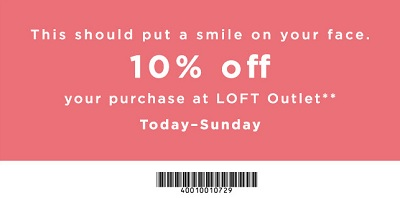 Coupon for: Long Weekend Savings at LOFT Outlets