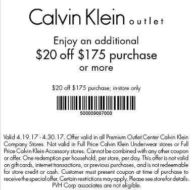 Coupon for:  Amazing savings at Calvin Klein Outlets - Premium Outlets