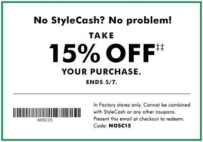 Coupon for: U.S. Banana Republic Factory: StyleCash is back!