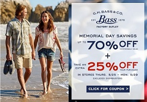 Coupon for: Memorial Day Savings at G.H. Bass & Co. Factory Outlets