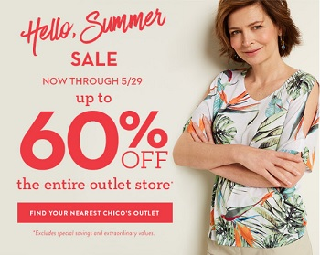 Coupon for: Shop Summer Sale at U.S. Chico's Outlets