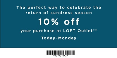 Coupon for: Save even more than usually at LOFT Outlet Stores