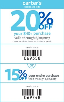 Coupon for: Save money with printable coupon at U.S. carter's