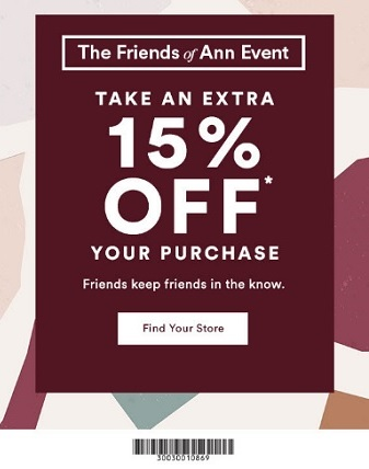 Coupon for: U.S. Ann Taylor Factory: Enjoy The Friends of Ann Event