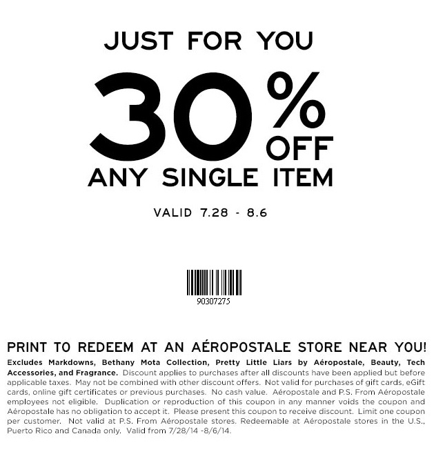 Coupon for: Aéropostale, one item with 30% discount