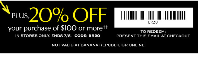 Coupon for: Banana Republic Factory Stores, 50% off everything