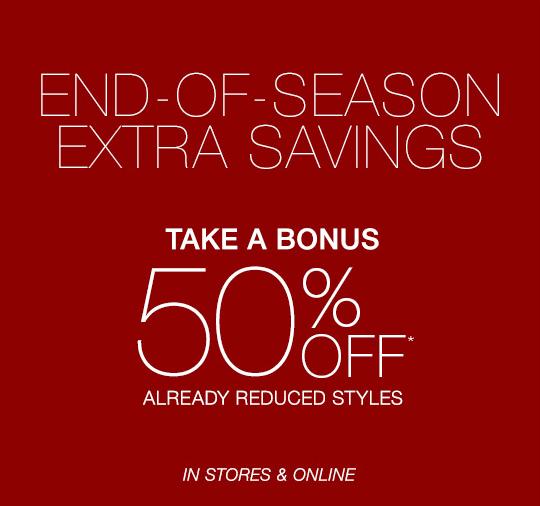 Coupon for: Caché, Bonus 50% off end of season SALE