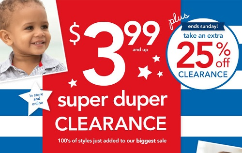 Coupon for: Carter's, Extra 25% off clearance