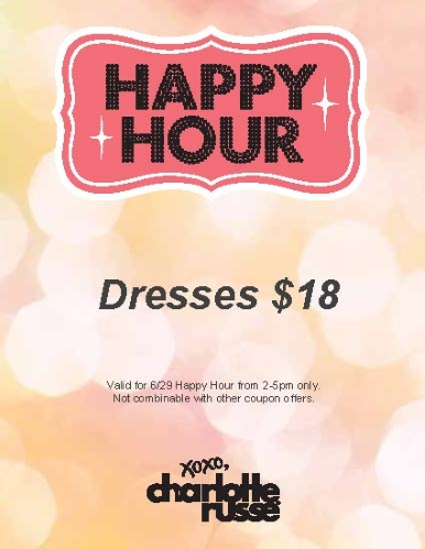 Coupon for: Charlotte Russe, Happy hours, dresses for ...