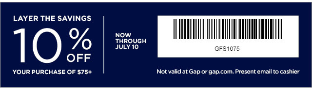 Coupon for: Gap Factory, Mid - Summer Refresh