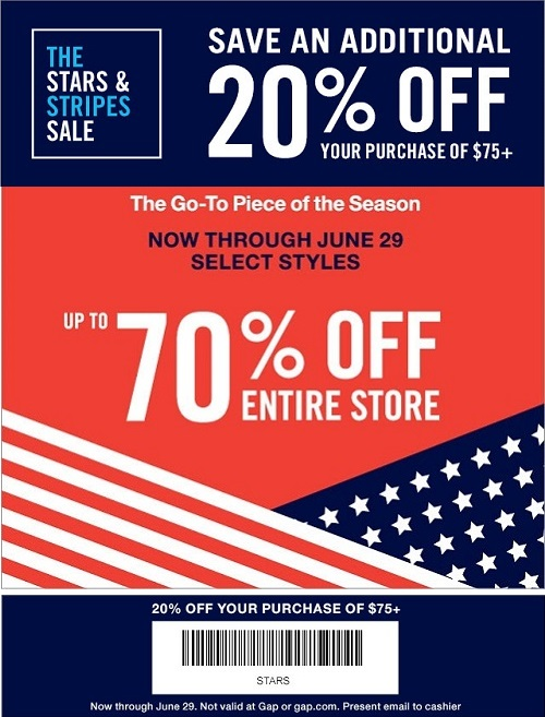 Coupon for: Gap Factory, extra 20% off