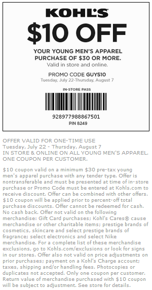 Coupon for: Kohl's, Take $10 off your purchase