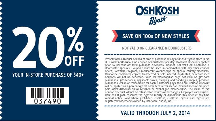 Coupon for: OshKosh B'gosh, 20% off your purchase