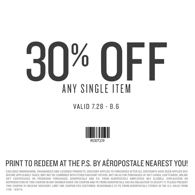 Coupon for: P.S. from Aéropostale, 30% off any item
