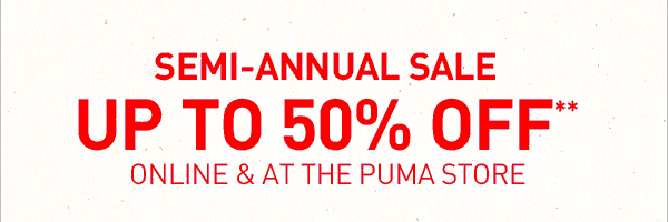 Coupon for: PUMA, Semi - Annual SALE