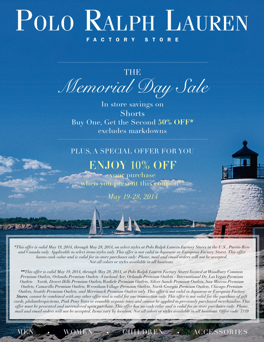 Coupon for: Polo Ralph Lauren, Memorial Day SALE