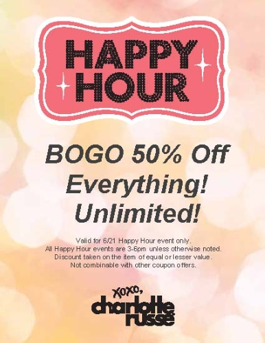 Coupon for: Charlotte Russe, Happy hours (3 pm - 6 pm)