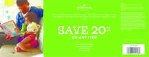 Coupon for: Hallmark, any item with 20% discount