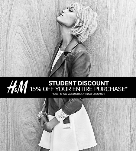 Coupon for: H&M, Student Discount, 15% off