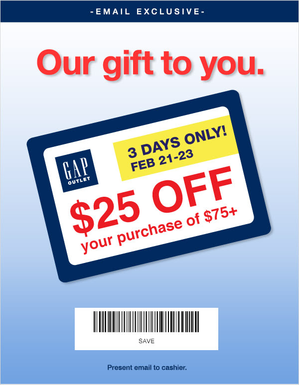 Coupon for: GAP, Special Gift