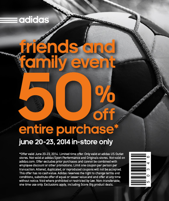 Coupon for: adidas, friends & family event