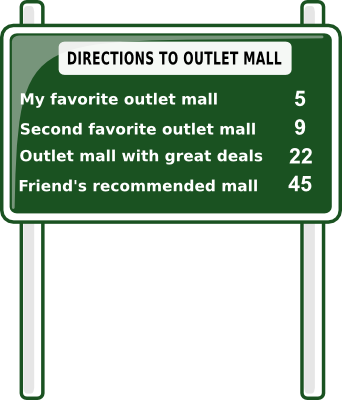 Get directions to outlet mall